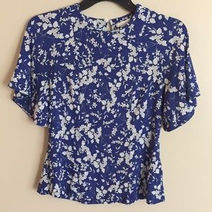Blue with white flowered Blouse